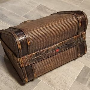 None Accents - Small Wicker Wooden Latched Decor Suitcase Box